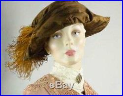 Edwardian Hat Brown Velvet Bicorn Ostrich Feather Superbe Sz 7 #1498