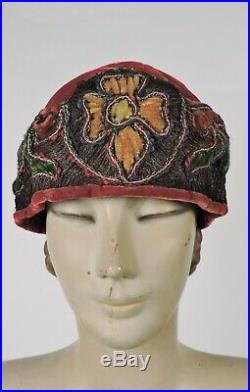 Elegant Flapper 1920s Velvet Cloche Hat W Chenille Embroidery & Gold Lame