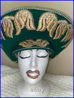Elegant Jack McConnel Emerald Green & Gold Chuch/Dress Hat