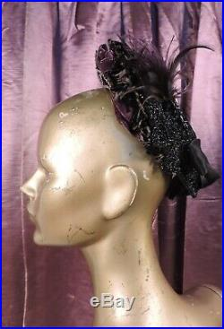 Elegant Victorian 1870s Jet Bead & Purple Velvet Evening Bonnet W Feathers