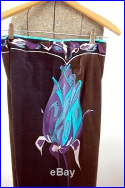 Emilio Pucci pants velvet wide leg two tone floral 1960s Made in Italy Saks