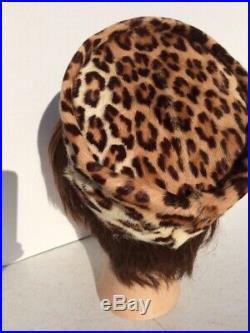 Exotic 50's-60's REAL Leopard Fur Pill Box Hat S