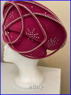 Exquisite Vintage Raspberry George Zamaul Couture N. Y. Hat