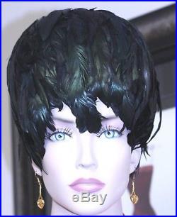 FAB jack mcconnell boutique feather hat black helmet cloche style vintage 21 3/4