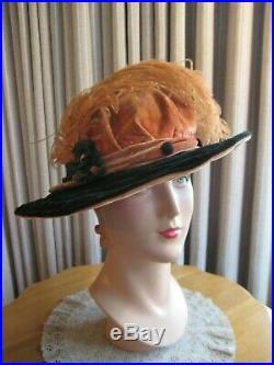 FASHIONABLE 20'S PEACH & GREEN VELVET CLOCHE HAT WithFLOWERS & PLUME