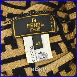 FENDI Zucca Pattern Women's Knitted Hat Beige Wool #42 Authentic Vintage AK40570