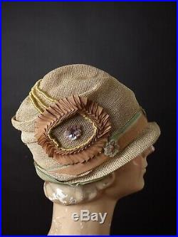 FISKHATS CHICAGO 1920s Tan Woven Horsehair Cloche