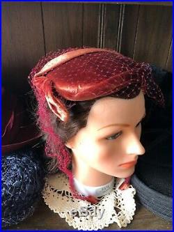 FREE SHIP Lot Of 6 Vtg Womens Hats And Skull Caps 1940s Pillbox Velvet Felt