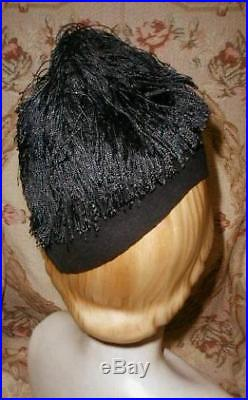 FRENCH 1930s AGNES, PARIS, BIRD OF PARADISE in Silk Fringe Nest, Black DECO Hat VG