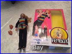 FROM 1970 A VINTAGE RARE FEMBOT With REPRO BOX BIONIC WOMAN NEMISIS2 MASKS -HAT
