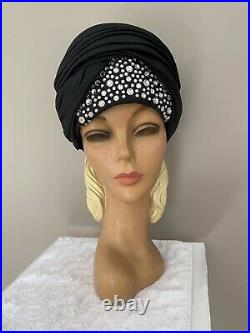 Fabulous Vintage Jack Mcconnell Red Feather Black Silk Turban With Crystals
