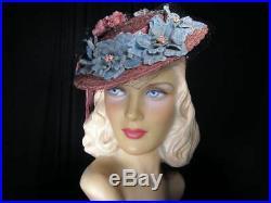 Fabulous vtg.'40s pink straw TILT hat with pink & blue flowersWorld War II