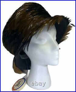 Feathered Hat MR. JOHN Classic NY Paris Wool Dress Vintage NWT
