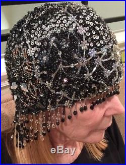 Flapper Hat/Headdress Vintage Handmade Crochet Sequins and Dangling Beads