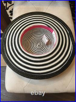 Frank Olive Black White Strip Plastic Straw Hat Vintage 1980s 119-11-31519
