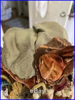 French 1920's Velvet Ruched Cloche Metalwork Overshot Silk Flapper Hat Ornate