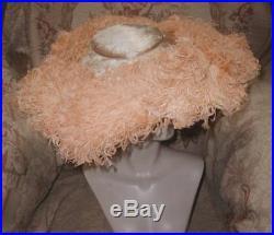 GIGANTIC Wide Brim Platter Hat w Apricot Ostrich Plumes & Silk Panne Velvet WOW