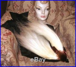 GRAND Antique 1910 Gigantic BIRD OF PARADISE Plumes Hat w French Silk Bow Buckle