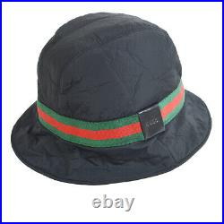 GUCCI GG Logos Sherry Line Hat Black Vintage Italy Kids #M Authentic AK38043i
