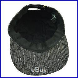 GUCCI GG Pattern Women's Hat Cap Black #L Vintage Italy Authentic AK37744