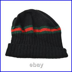 GUCCI Sherry Line GG Knitted Hat Black Vintage Italy #M Authentic AK25630i