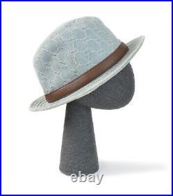 GUCCI Women's Hat Monogram GG Denim Vintage Panama Bucket Washed Blue Size L