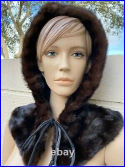 Genuine Mink Fur Mahogany Color Hood Hat One Size Fits All