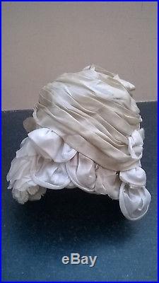 Genuine original 1950's silk beehive turban hat Christian Dior Licence Chapeaux