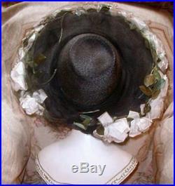 Gigantic LILLY DACHE 1940s Wide Brim Cartwheel Hat w Pale Pink Roses & Silk Net