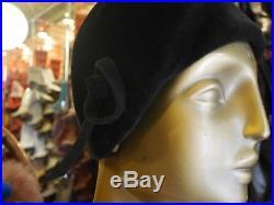 Glockenhut 50er wie 20er Jahre Hut Hütchen ca 54 schwarz TRUE VINTAGE cloche hat