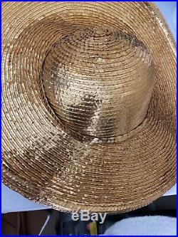 Gorgeous Gold Foil George Zamaul Rhinestone Dress Hat NWOT