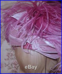 Gorgeous LILLY DACHE 1940s Purple Pink Ostrich Plumes TILT Hat w Silk Velvet Bow