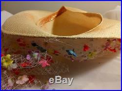 Gorgeous Vtg Jack Mcconnell Pastel Floral Kentucky Derby Tilt Fassinator Hat