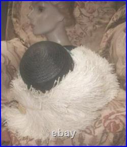 Grand Antique Edwardian Hat w Cream Ostrich Plumes, Aqua Silk Flowers, Wide Brim