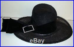 Grand Vintage 1930s Deco Black Horsehair Hat with Velvet Ribbon/Rhinestone Buckle