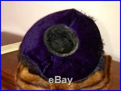 Grand Vintage Edwardian Purple Velvet Hat with Bird Of Paradise Feathers Flowers