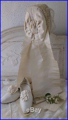 Great, antique victorian French wedding bonnet, marrial bonnet, lace, tule ribbons
