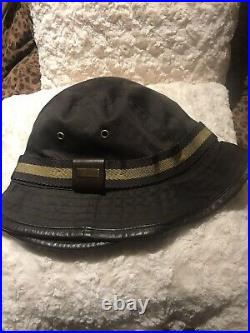 Gucci Vintage Bucket Hat WithLeather Trim