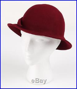 HALSTON 1970s BURGUNDY WOOL FELT FLAPPER STYLE CLOCHE HAT