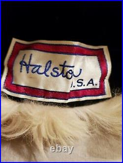 HALSTON HAT Shearling Mongolian Lamb With pompom VINTAGE MADE IN USA