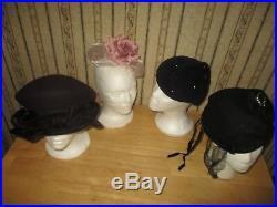 HUGE lot of 35 VINTAGE hats, facinators, purse, handbag, gloves, binoculars, fur