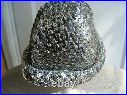 Halston Saks Fifth Avenue VINTAGE Crochet Silver Sequin Disco Cap/Hat AUTH LABEL