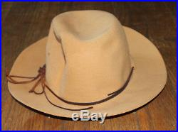 Halston vintage western style leather strap hat used distress