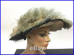 Hat bonnet Edwardian Victorian flowers Titanic Antique Original Charlotte Haibe