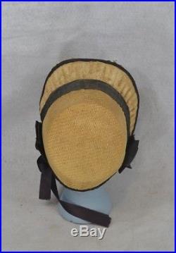 Hat bonnet straw Civil War Era natural rare antique original 1860