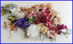 Huge Lot Vintage Millinery Flowers Garlands Crafts Hats Dolls Silk Velvet 100+