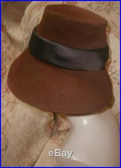 Iconic Vintage 1950s Christian DIOR Paris Deep Bell Brim'd Cloche Velour Felt