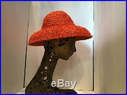 Italy Straw Raffia Vintage Hat Wide Brim Sunhat 50s 60s Orange