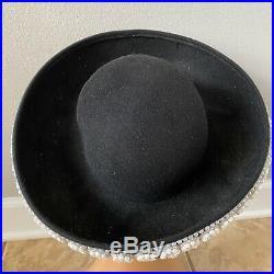 JACK MCCONNELL Boutique Vintage Black Pearl Trim Sunday Church Hat X37