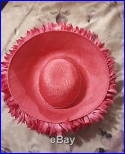 JACK McCONNELL VTG Bright Pink Straw Wide Brim Floral Leaf Diamonel Tips Hat